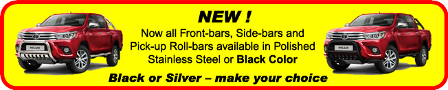 Now all Front and Sidebars available in Polished Stainless Steel or Black Color